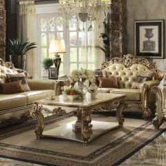Gold Leather Sofa Set Indian Divan Uk Patina Vendome Royal Living By Acme Furniture