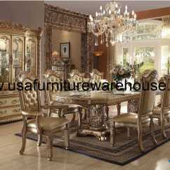 Fancy Leather Chair Metal Kitchen Acme Furniture Vendome Gold Patina Dining Set