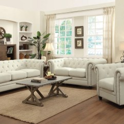 Algarve Leather Sofa And Loveseat Set With Storage Ottoman Coaster Furniture Roy Oatmeal Fabric Living