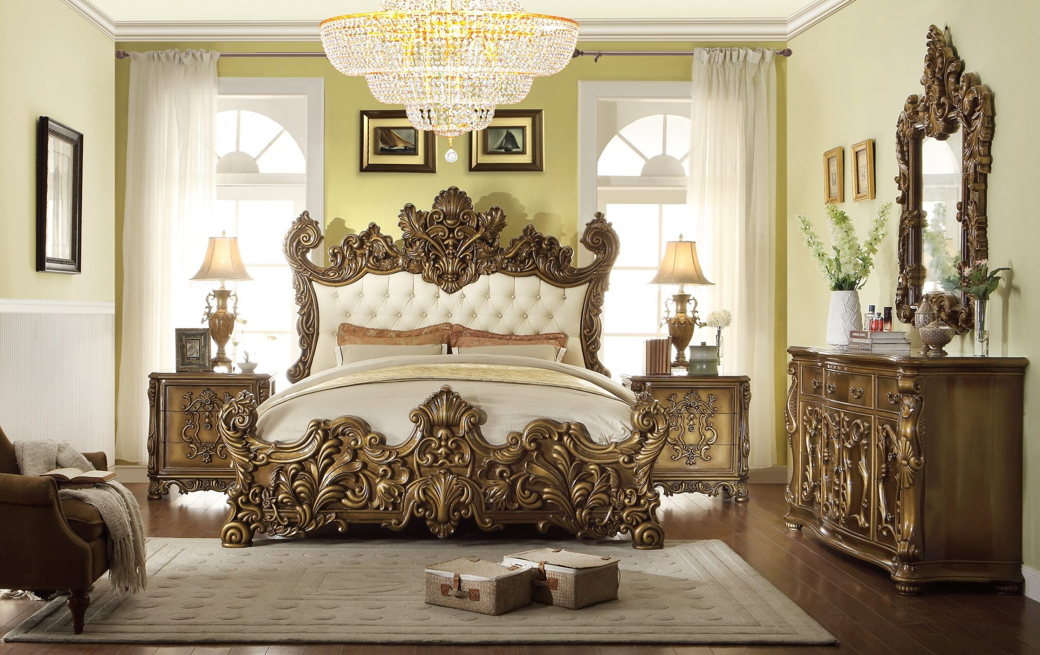 5Pc HD8008 Homey Design Golden Royal Palace Bedroom Set