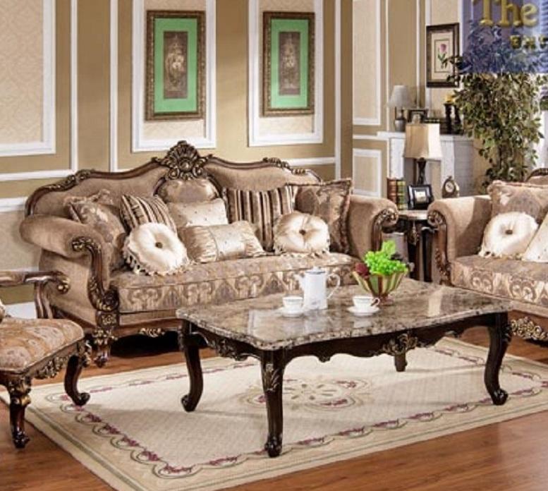 Best Furniture MC1428 Gold Wood Trim Hazelnut Fabric Sofa