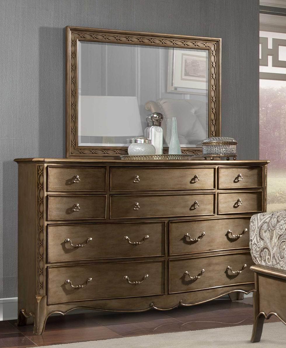 Homelegance Clayton Antique Gold Dresser WMirror 18285