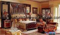 4-Pc Zeus European Burgundy Luxury Bedroom Set