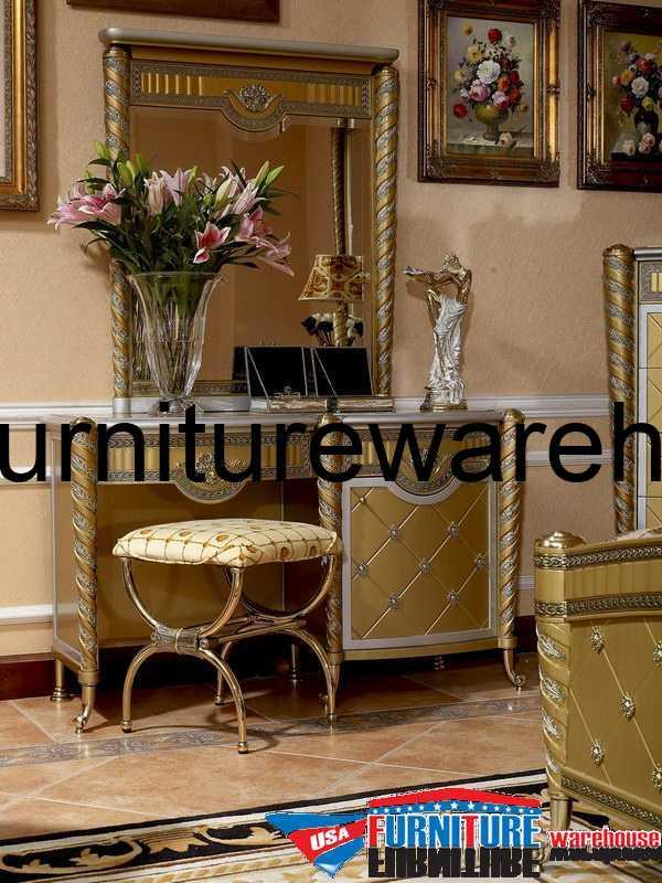 Zeus European Golden Small Dresser & Mirror Set