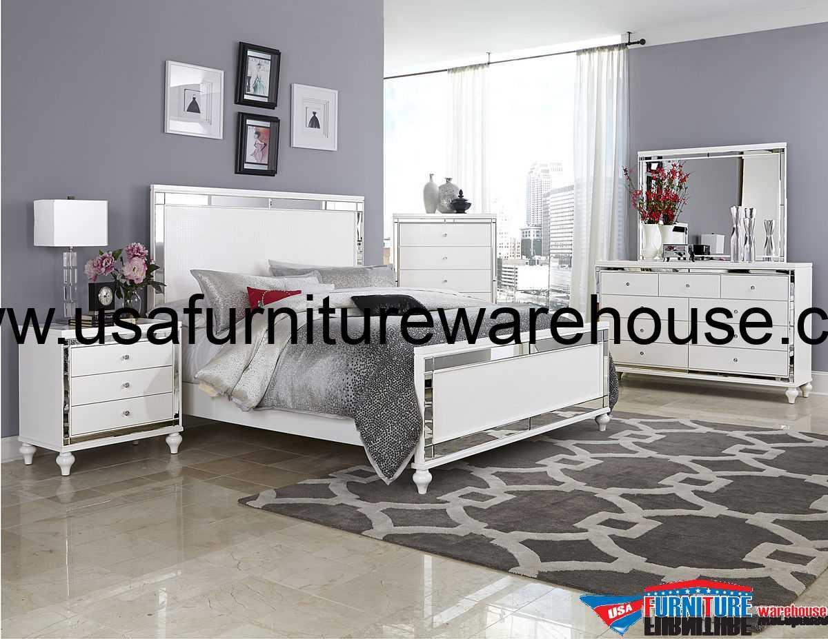 4Pc Homelegance Alonza Beveled Mirror Frame Bedroom Set