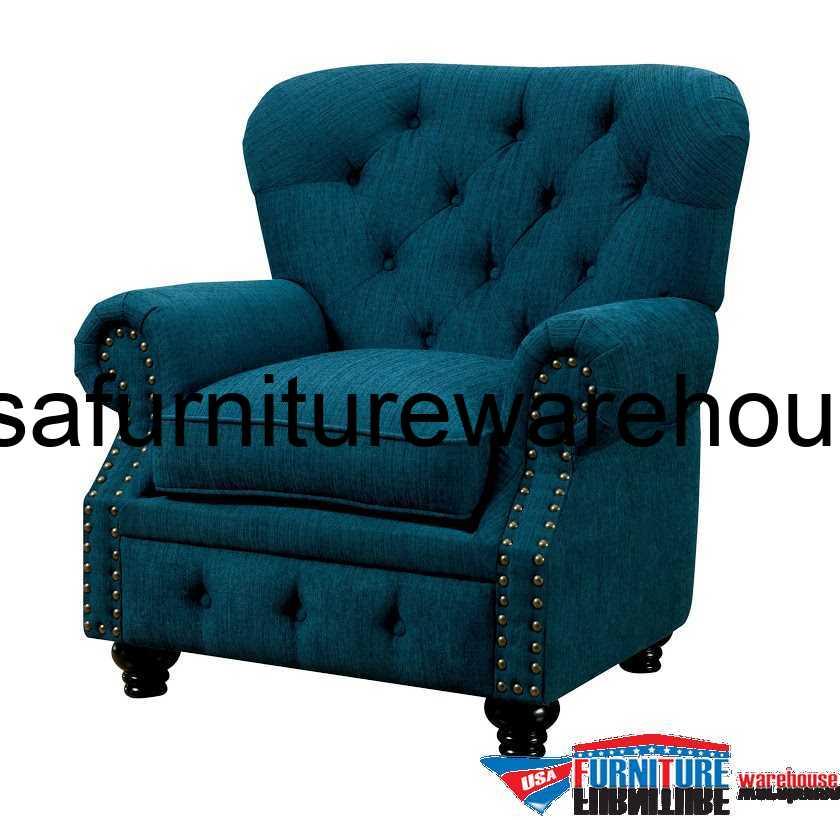 Furniture Of America Stanford Dark Teal Fabric Chair FOA