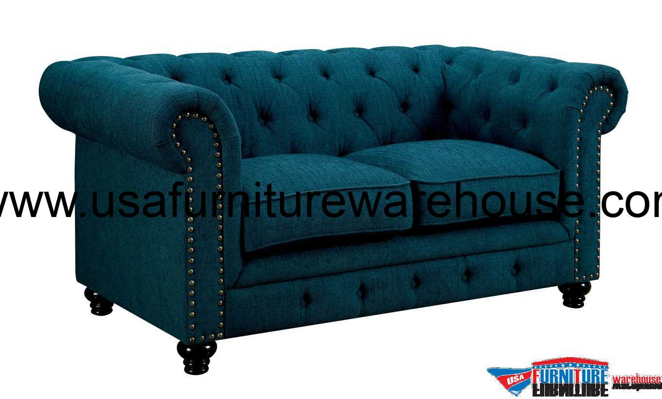 teal tufted chair cheap covers vancouver furniture of america stanford dark fabric loveseat