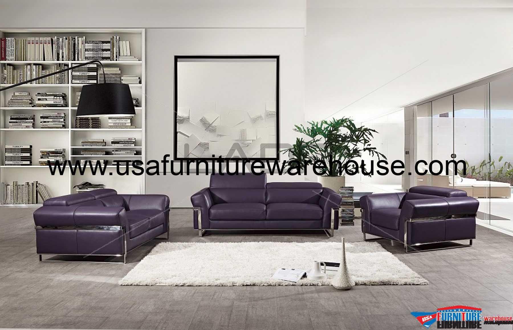 Avana 3 Piece Italian Split Purple Leather Sofa Set