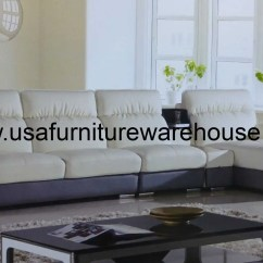Modern Gray Sofa Set Cloud Lema Hover Ivory Leather Sectional