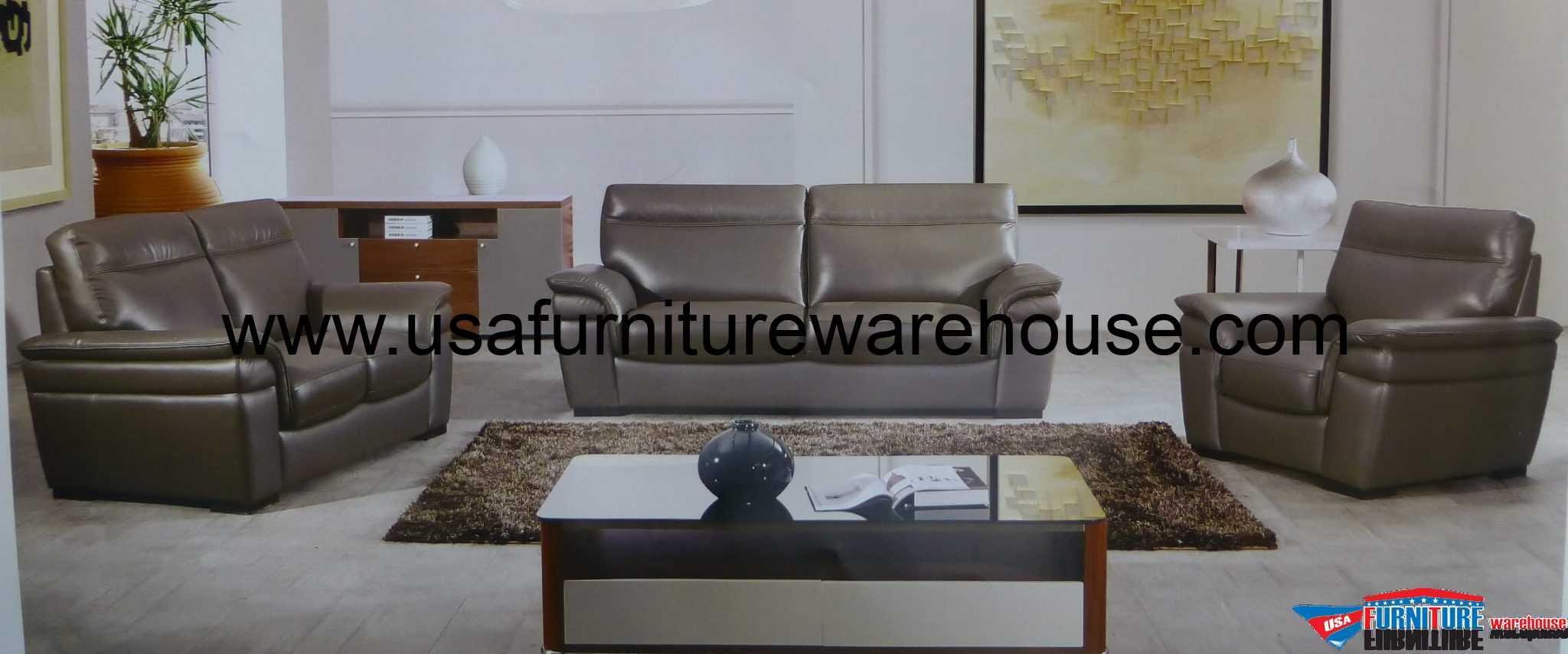 Plaza 3 Piece Italian Top-Grain Taupe Leather Sofa Set