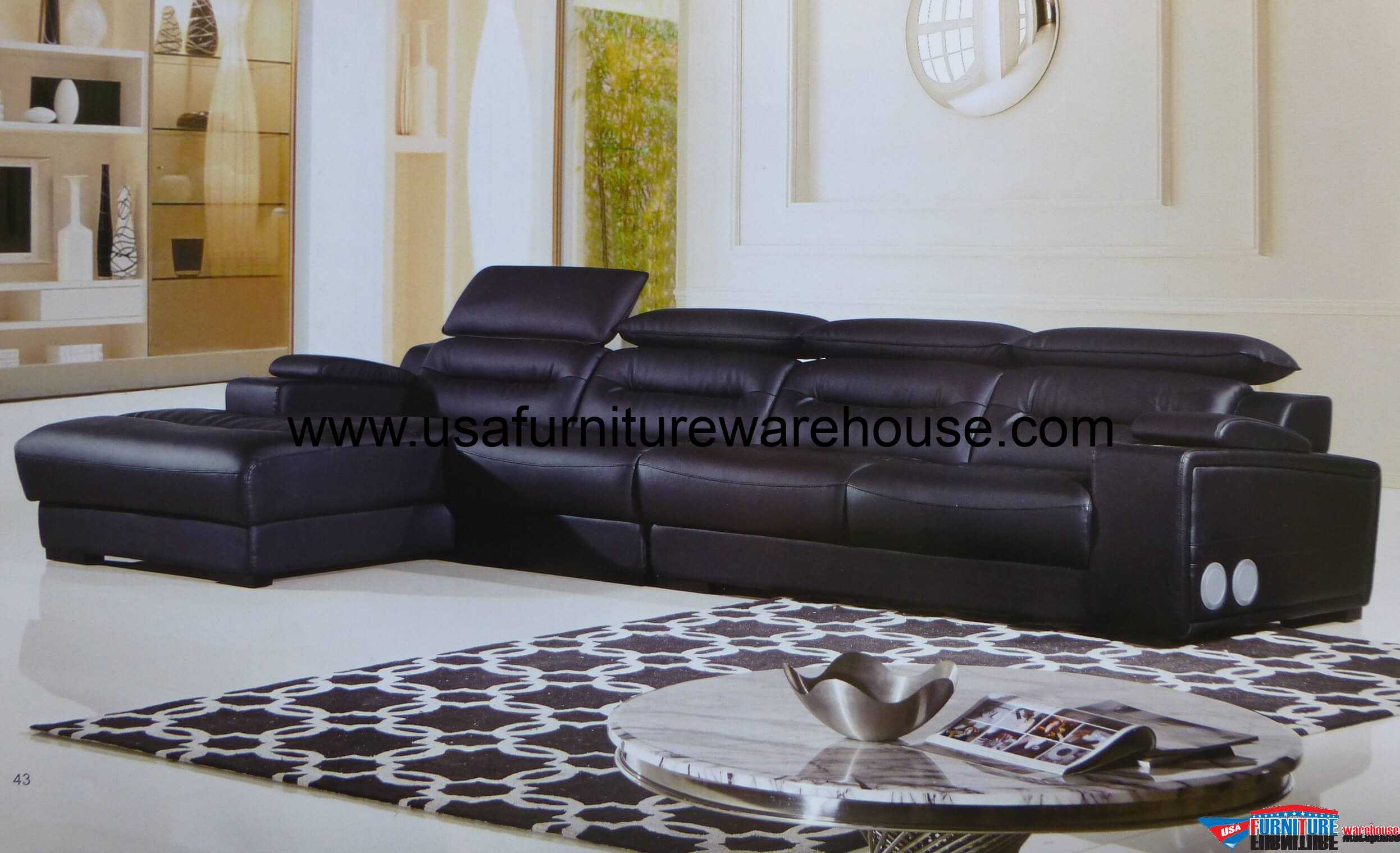 polaris contemporary leather sofa set marshmallow flip mickey mouse black modern sectional with headrest