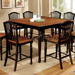 Antique Oak Dining Chairs Glass Room Table And 9 Piece Maywille Counter Height Set In Black