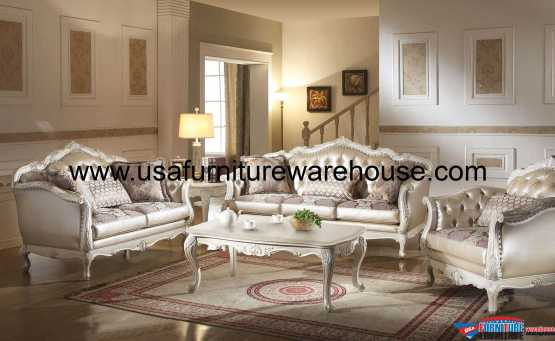 Acme Chantelle Sofa Set Pearl White Finish