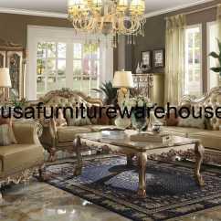 Gold Leather Sofa Set Funny Pillows 3 Piece Dresden Wood Trim Patina