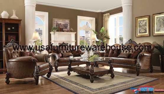 acme Versailles Sofa Set Light Bown