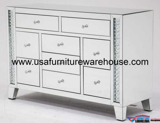 Accent Storage 9 Drawer Chest Crystal Inserted