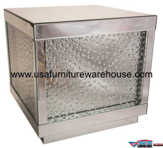 Silver Mirrored End Table With Crystals