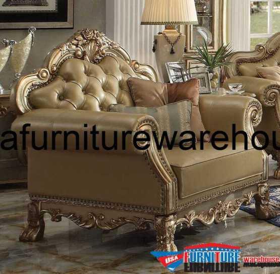 Italian Leather Sofa With Wood Trim: 3 Piece Dresden Wood Trim Gold Patina Leather Sofa Set