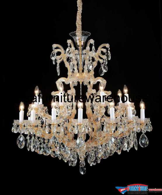 AICO 19 Light La Scala Chandelier Cognac Glass