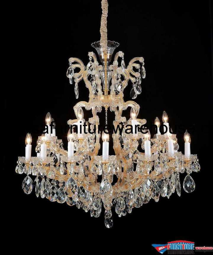 AICO 19 Light La Scala Chandelier Cognac Glass