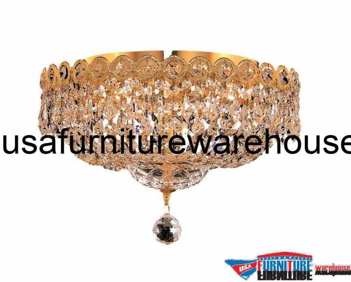 "4 Lights Flush Mount 14"" Chandelier 1900 Century Collection"