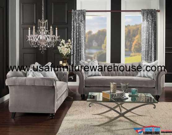 2 Piece Antoinette Dolphin Gray Sofa Set
