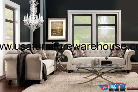 Antoinette Ivory Fabric Sofa Set