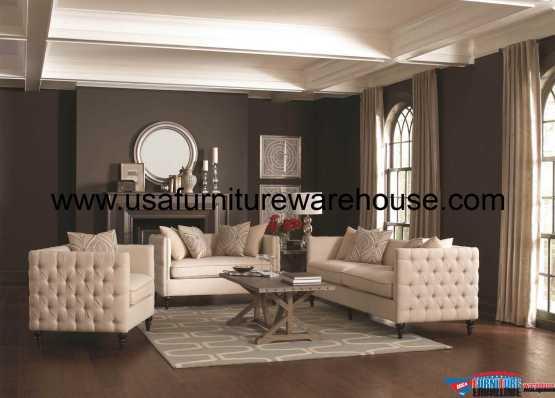 Coaster Claxton Tuxedo Sofa Set