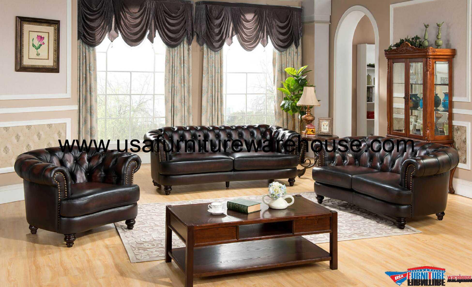 3 Piece Mario Full Leather Sofa Set