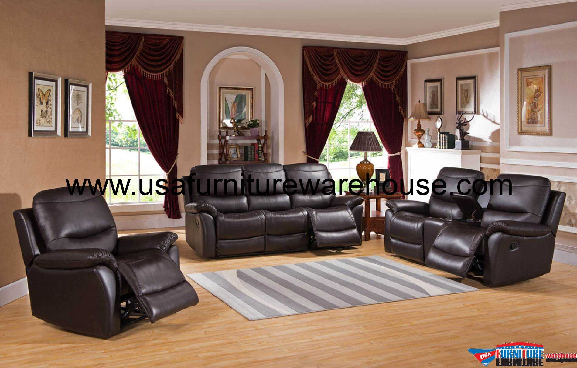 3pc recliner sofa set leather bed vancouver 3 piece pisa top grain reclining