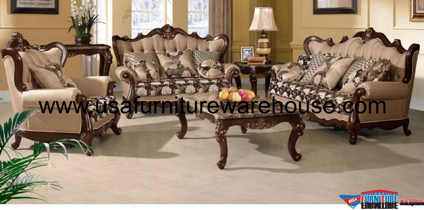 3 Piece Sophie Wood Trim Fabric Sofa Set Usa Furniture Warehouse