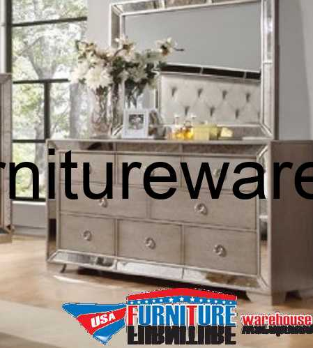 Celine Silver Bronze Mirror Dresser  Mirror  USA Furniture Warehouse