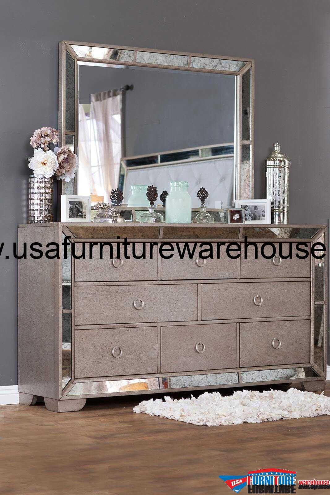 Loraine Antique Silver Dresser With Mirror