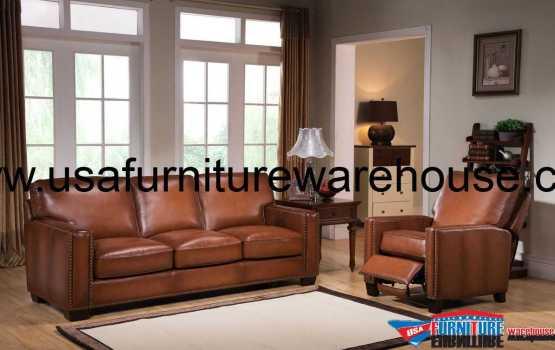 Harley Full Leather Sofa Set