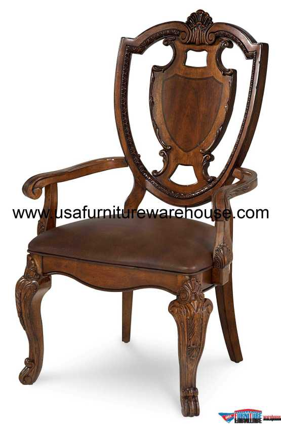 Old World Shield Back Leather Dining Arm Chair