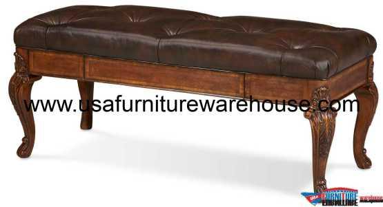 Old World Storage Leather Bench