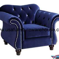 Tufted Blue Chair Ergonomic Nhs Jolanda Button Fabric