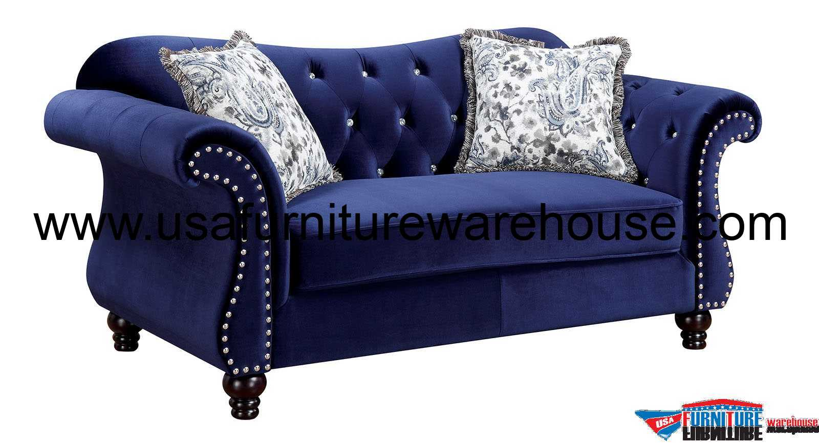 tufted button sofa charleston super fire radio traffic jolanda blue fabric loveseat