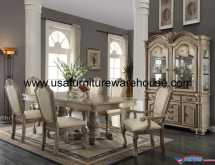 9 Piece Acme Chateau De Ville Antique White Finish Dining Set