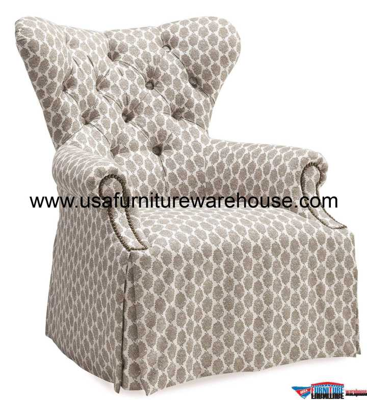 Ava Grey Tufted Back Skirted Wing Chair