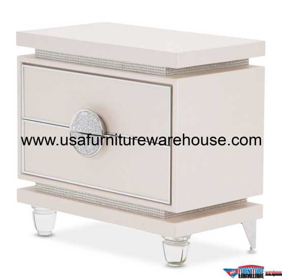 AICO Glimmering Heights 2 Drawer Nightstand Ivory