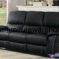 Leather Couch And Chair Velvet Dining Chairs Table Homelegance Greeley Top Grain Black Double