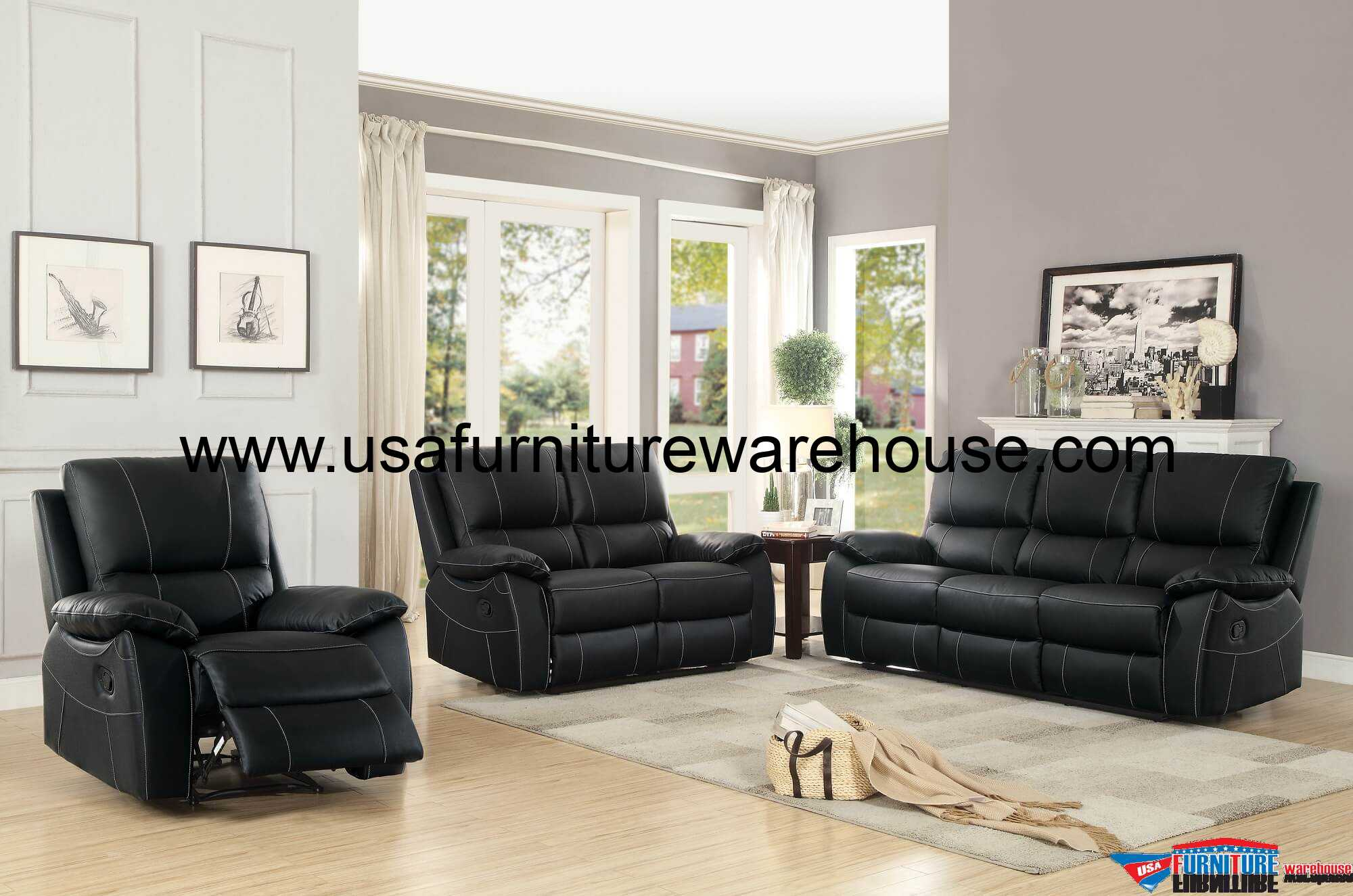 Homelegance Greeley Top Grain Black Leather Reclining Sofa Set
