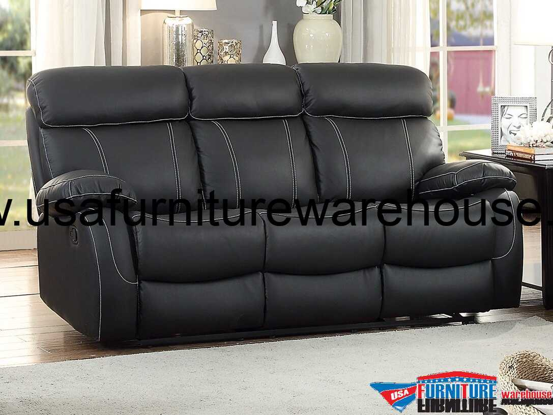 black reclining sofa with console ikea leather reviews homelegance pendu top grain