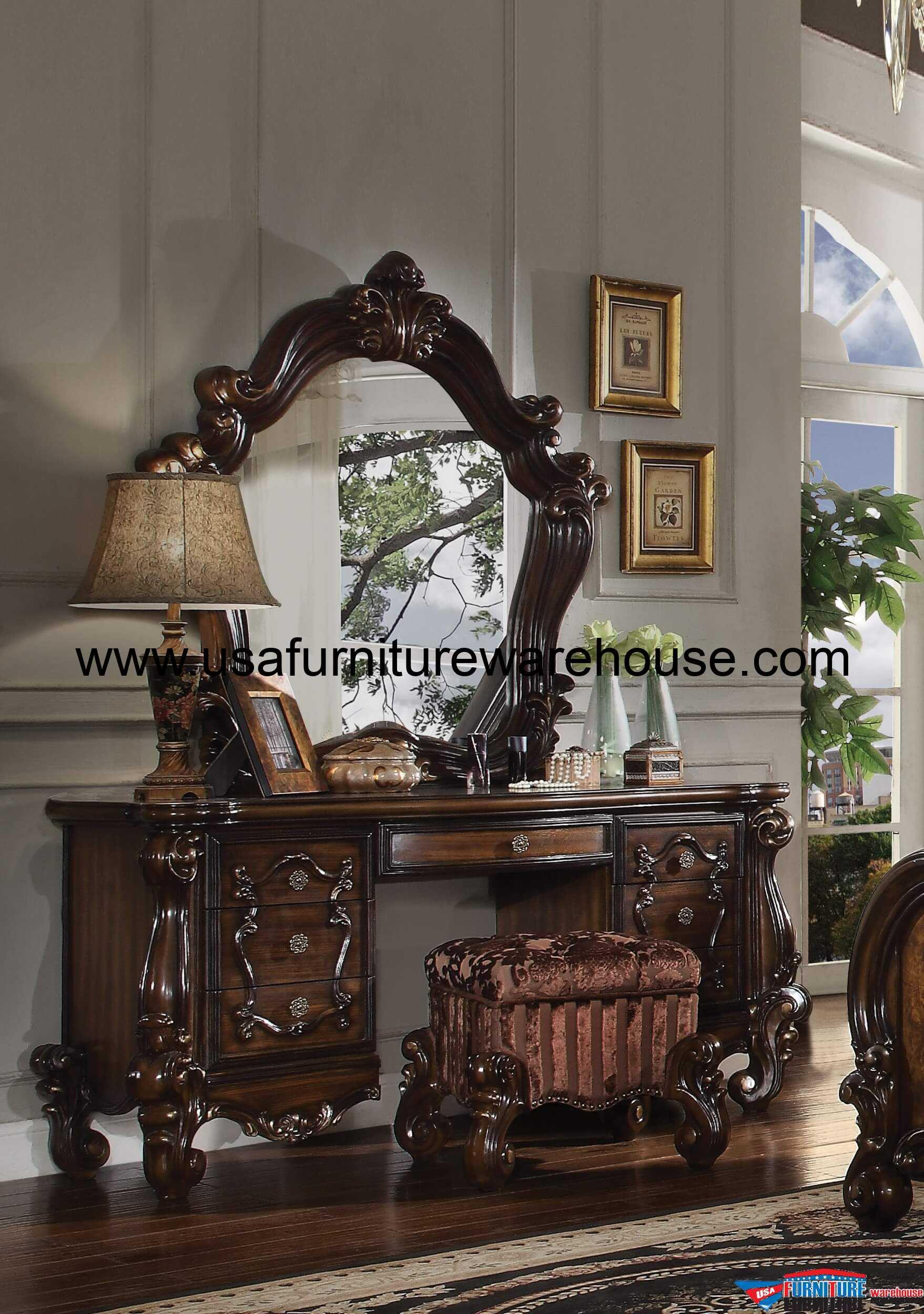 3 Piece Acme Versailles Vanity Mirror With Stool Cherry