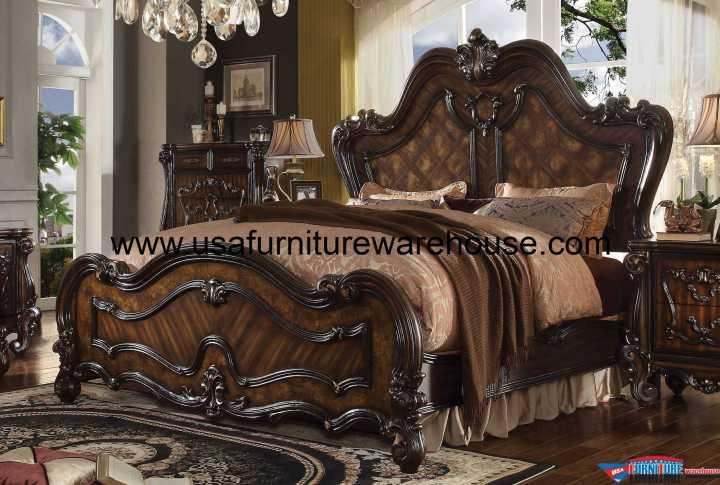 Acme Versailles Panel bed Cherry Oak Finish