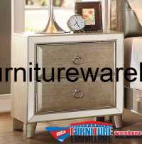 Acme Voeville Mirrored 2 Drawer Nightstand Antique White ...