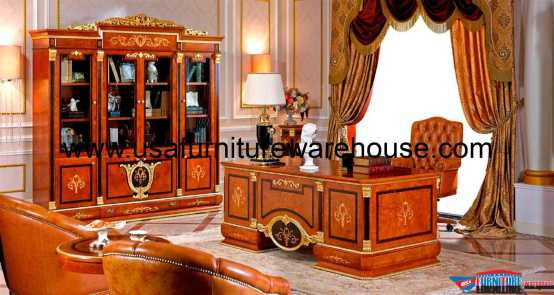European Executive Desk With Bookcase Cabinet Set