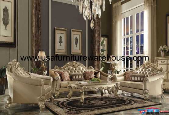 Vendome II Gold Patina Sofa Set