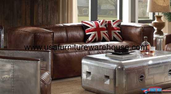 Brancaster Top Grain Brown Leather Sofa